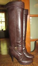NEW, DIANA CO LTD, JAPAN, SZ LADIES US 6.5, BROWN LEATHER KNEE HIGH HEEL BOOTS