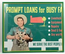 Original 1950s Savings & Loan Bank Pig Farmer Prompt Loans For Busy Farms Sign