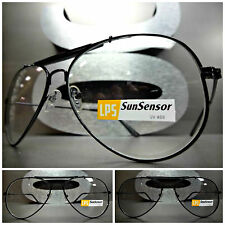 CLASSIC VINTAGE Style SUNGLASSES Black Frame Transition Lens Darkens in Sunlight