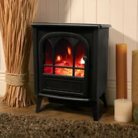 FREESTANDING ELECTRIC STOVE FIREPLACE BLACK LOG BURNER EFFECT HEATER Wido
