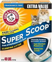 Arm & Hammer Super Scoop Clumping Litter, Fragrance Free 40lb