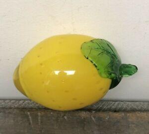 Murano style GLASS LEMON FRUIT actual size yellow green leaf vtg retro