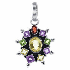 925 Sterling Silver Floral Setting Multi Gemstone Bali Design Pendant #CP033