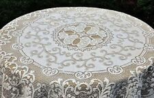 """New Windermere 70"""" Round White Cotton Blend Lace Tablecloth"""