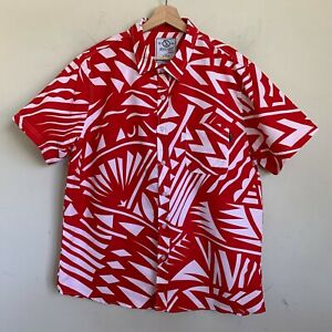 Switch Remarkable Mens Shirt Red White Abstract Short Sleeve Buttons Size XL