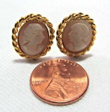 Vintage Gold Tone Faux Cameo Clip on Earrings