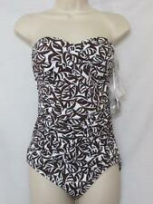 NWT Anne Cole Signature Convertible One Piece Swimsuit Brown & White Size 6