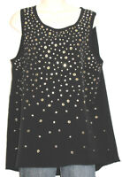 INC Women's Sleeveless Black Stretch Top w Silver & Gold Studs Size Large
