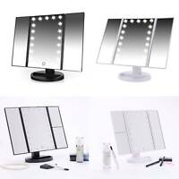 Foldable LED mirror Illuminated Make Up Mirror Cosmetic Vanity with Light Stand