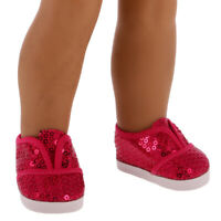Red Bling Sequins Shoes Flats for 18'' American doll  Doll