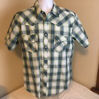 Wrangler Wrancher Cowboy Pearl Snap Western Shirt Green Gray Blue Plaid Large FS