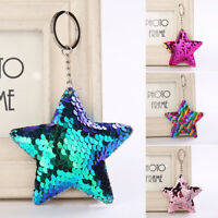 Cute Sequins Glitter Star Keychain Women Car Bag Pendant Colorful Key Rings 1PC