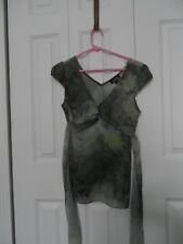 Womans size Med A. Buyer Green Abstract Paisley Design  Sheer  Cap Sleeve Blouse