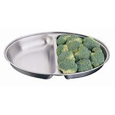 """Oval 8"""" Divided Vegetable Dish Stainless Steel Serving Buffet Functions 2 Side"""