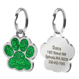 Glitter Paw Shape Personalized Dog Tags Custom Pet ID Name Engraved Collar Disc