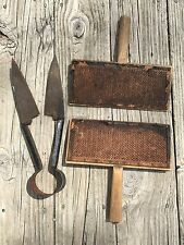Vintage/Antique Decorative Wool Cards and Sheep Shears Rustic Farm Hand Tools