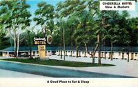 Prattville Alabama~Cinderella Motel & Restaurant~1950s Postcard