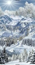 "23"" Fabric Panel - Timeless Treasures Christmas Winter Snowy Mountain Trail"
