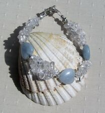 "Aquamarine & Clear Quartz Crystal Gemstone Heart Bracelet ""Angels Kisses"""