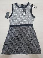 Ladies AX PARIS Fit&Flare Mini Dress Size 14 Black Floral Zip Cotton Sleeveless