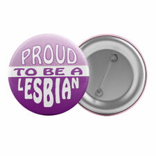 "Proud To Be A Lesbian Retro - Badge Button Pin 1.25"" 32mm Gay Pride LGBT"