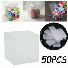 50 stücke 5cm PVC Transparent Klar Macaron Square Cube Box Hochzeit für Geschenk