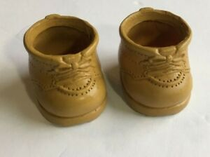Vtg Furskins Tan Plastic Shoes Doll Clothes Teddy Bear Small Boots Replacement