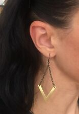 Anthropologie Triangle V Brass Antiqued Bronze Chain Dangle Earrings Shevron
