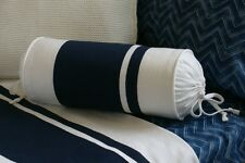 NEW Custom Ralph Lauren Indigo Modern Wide Stripe Neck Roll Pillow Neckroll