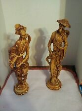 """Vintage Pair of Norleans Asia Japanese Figures 18"""" Statues Man&Woman Made Italy"""