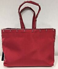 PRADA Red Silk Evening Bag with Clear Bugle Beading at The Edges
