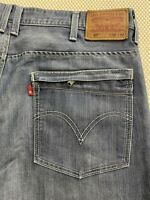 Levi's 38 x 32 527 Low Rise Boot Cut Leather Patch Rinse Zip Pocket Jeans