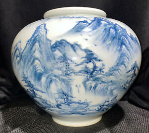 Large Vintage Asian Porcelain Blue White Scenery Vase - Signed