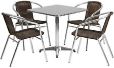 27.5'' Square Aluminum Indoor-Outdoor Table Set with 4 Dark Brown Chairs New