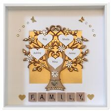Personalised Scrabble Family Tree 3D Box Frame Wedding Gift White & Gold Shimmer