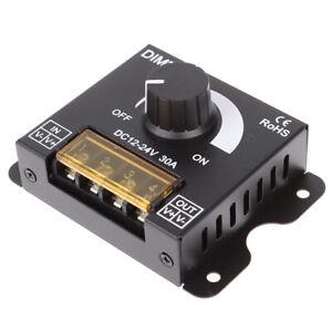 1Pc DC12V-24V LED Dimmer 30A 360W Adjustable Strip for Single Color 5050/3.hw