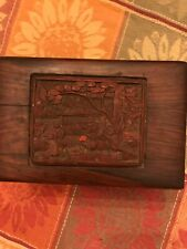 Antique Chinese Cinnabar Red Lacquer Carved Storage Box