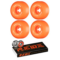 Mini Logo Skateboard Wheels 53mm A-Cut 101A Orange with Bones Reds Bearings