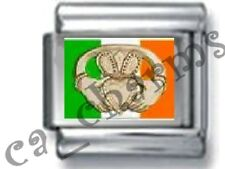 IRISH CLADDAGH SYMBOL OF LOVE & FRIENDSHIP 9MM ITALIAN PHOTO CHARM LINK Ireland