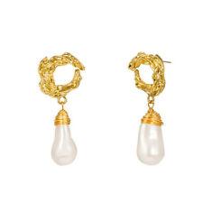 22x53mm White Baroque Pearl Earrings 18k Ear Drop Mesmerizing Accessories
