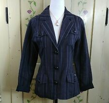 Woolrich Womens Size S Jacket Dark Gray Plaid Cotton Button Up Blazer