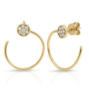 0.26 CT Diamonds in 14K Yellow Gold 21 mm Height Hoop Wire Earrings