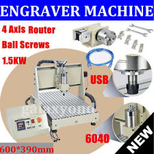 15kw Usb 4 Axis Cnc 6040 Router 3d Engraver Metal Engraving Drill Mill Machine