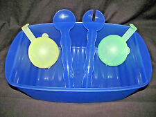 Tupperware Impressions Blue Rectanguler Container, Salad Servers, Forget-Me-Nots