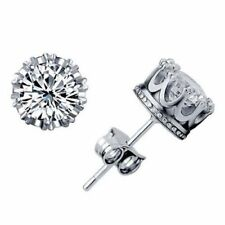 Womens Mens Crown Earrings Round Crystal Stud Jewellery 925 Sterling Silver Plt