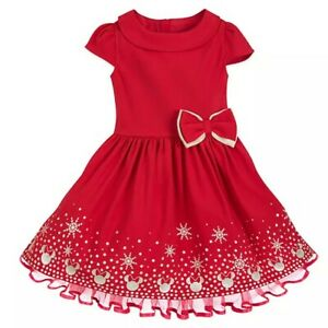 Disney Store Minnie Mouse ICON Holiday Christmas Girls Dress Red & Glitter Gold
