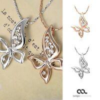 Damen Halskette Kette Anhänger Schmetterling Butterfly vergoldet Zirkonia