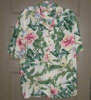 Hawaiian Shirt Paradise Found VTG Hibiscus Rayon Made Hawaii Men's L (X2-9)
