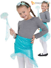 Childs Little Mermaid Costume Girls Fairytale Fancy Dress Kids Fantasy Outfit