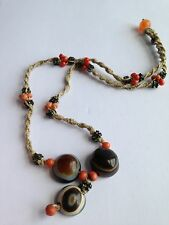 ANTIQUE CHINESE LUKE MIK DZI BEAD AGATE  PENDANT NECKLACE Coral Beads